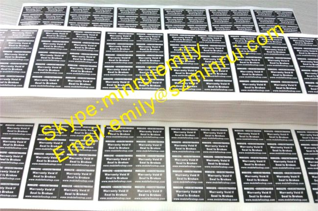 Custom Full Color Printed Frangible Warranty Stickers,None Removable Warranty Stickers,Destructive Paper Labels