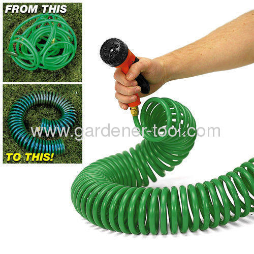 50FT Coil Garden Hose With Plastic 7-pattern Spray Nozzle For Car Wash,Plant Irrigation