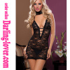 Black Sexy New Deep V Lace Fashion Strip Mini Dress with G-string