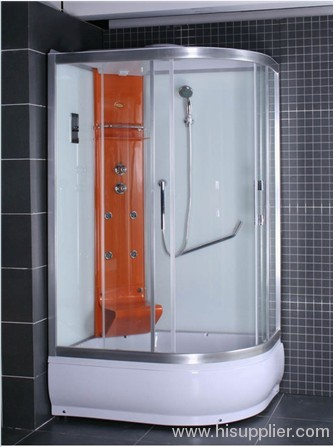 corner colorful shower cabin for one armrest
