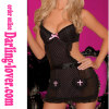 Black Sexy Fashion Babydoll Lingerie Pink Dot With Cup Cut Black Dress