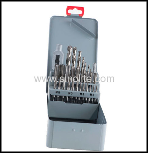 29pcs of taps and dies set 21pcs DIN352 taps 7pcs drills 1pcs adjustable handle tap wrench