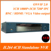 H.264 1CH 1080P+3CH 720P IPC 1.5U Case Digital Network Video Recorder