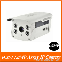 H.264 1.0MP 1/4'' Progressive Scan CMOS 80m IR View 4* High Power Array LEDS IP Video Cameras