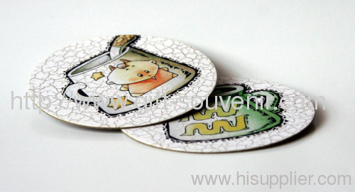 Colorful paper printing MDF cork coaster
