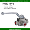 3 way L port hydraulic high pressure valve female threaded npt 1 inch ball valves