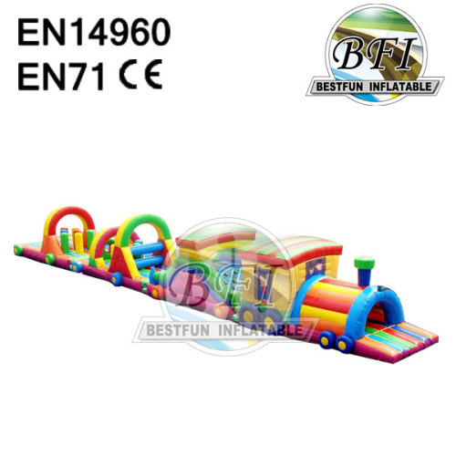 Large Kids Train Inflatable Tunnel Obstacle Course