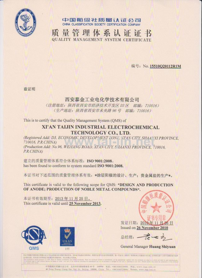 Iridum and Tantalum Oxide Coating Insouble Titanium Anode for Copper Foil