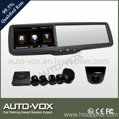 4.3-inch Car Rear-view Monitor Mirror with GPS, DVR, BT, Multimedia, FM + Camera + Parking Sensor