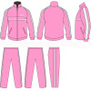 Women Pink / White Casual Tracksuits Sportswear Full Jacket Zip With Your Team Name
