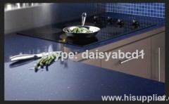 Blue quartz kitchen countertop