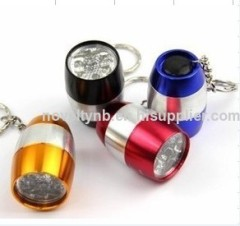 portable 6led aluminum egg led flashlight key chain