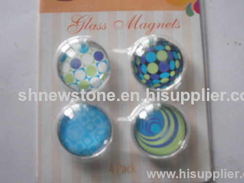 supply promotional crystal glass magnet, brand logo glass fridge magnet