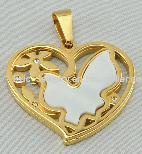 Fashion stainless steel heart bird pearl pendant