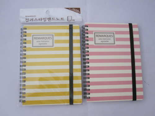 A6 2 subject college ruled hardcover spiral notebook with rubber band