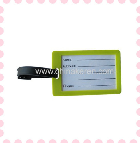 Promotional custom 2D bulk soft rubber pvc luggage tag