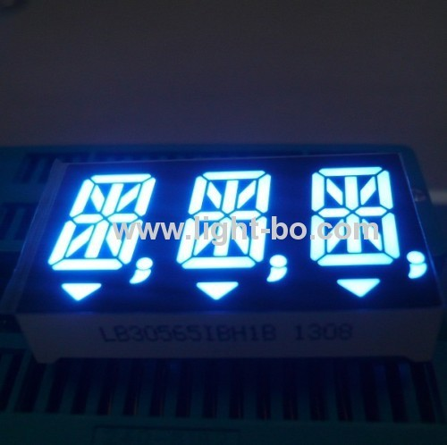 Custom three-digit 14.2mm (0.56 inch) common anode Ultra bright blue 14 Segment LED Display for instrument panel