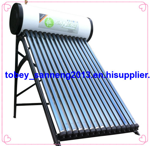 2013 hot sales black outer look color steel compact pressurized solar water heater system