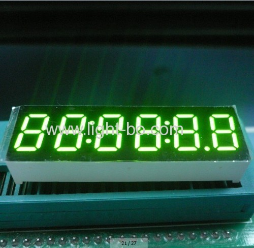 6-Digit 0.36-inch Anode Green 7 segment led clock dislay