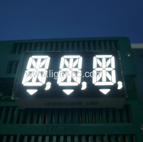 "Ultra White Triple-Digit 14.2mm (0.56"") Anode 14 Segment Alphanumeric LED Display for Instrument Panels"