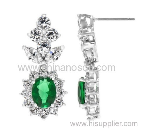 Fancy Emerald Cluster CZ Drop Earrings