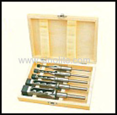 "Mortising chisel and bit 5pcs/set sizes: 6.4-8-9.5-12.7-16mm (1/4"", 5/16"", 3/8"",1/2, 5/8"") packed in wooden box"
