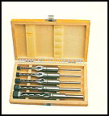 "Mortising chisel and bit 5pcs/set 6.4-9.5-12.7-25.4mm (1/4"",3/8"",1/2"",3/4"",1'). packed in wooden box"
