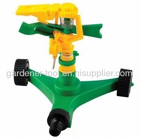 Plastic Impulse Water Sprinnkler With Plastic Wheel Base