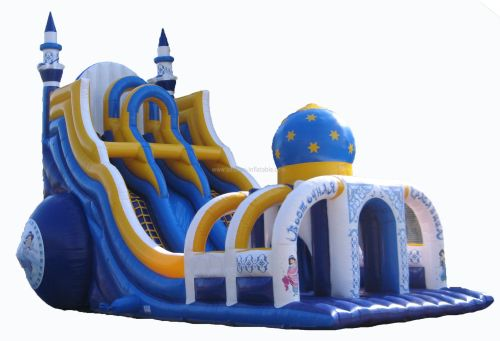 Big Blue Inflatable Castle Slide