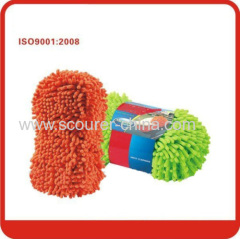 Green and orange 100% Polyester Microfiber chenille sponge car cleaner
