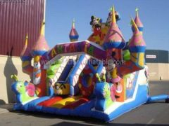 Mickey Bouncy Castle Snail Inflatable Slide For Sale
