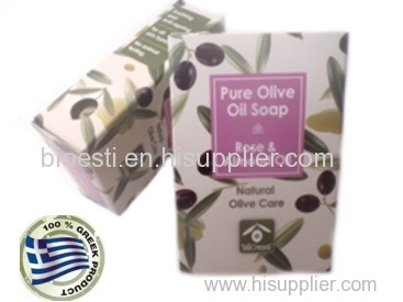 Natural Olive Oil Soaps with Rose & Almond Oil in carton box 100 gr. PrintEmail
