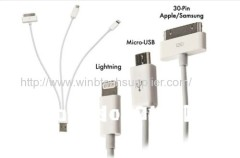 3IN1 USB Cable for iphone 5&4&ipad2&5 PIN Micro USB Sync Data Cable For Samsung HTC High Quality