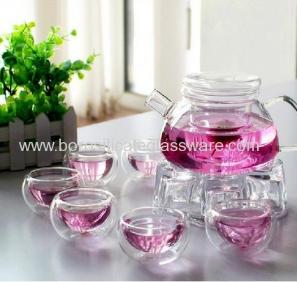 Nice And Useful Hand Blown Borosilicate Glass Teaware Set