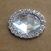 Rhinestone shoe button in silver