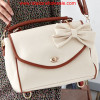 Wholesale Preppy Style Bowtie Embellished Zip Closure Shoulder Bags Beige