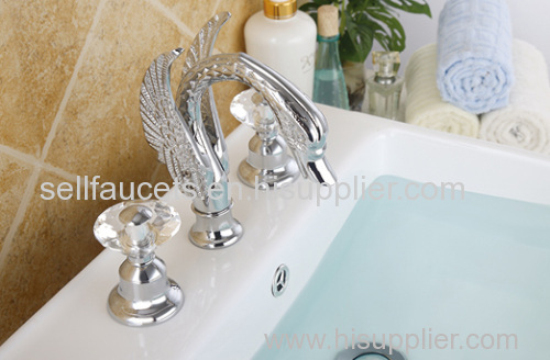 chrome finish 3pcs swan sink faucet 8 inch widespread lavtory sink faucet crystal handles swan tap faucet