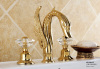gold finish 3pcs swan sink faucet 8 inch widespread lavtory sink faucet crystal handles swan tap