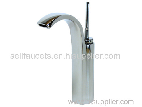 Chrome clour single hole bathroom sink faucet mixer tap waterfall faucet tall