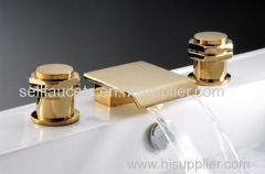 gold clour basin waterfall faucet Widespread Bathroom Sink Faucet 3 pieces mixer tap faucet deck mount