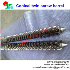 Conical twin screw barrel for double screw extruder