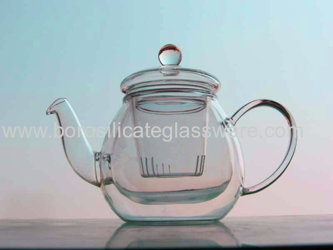 Hand Made Borosilicate Double Wall Glass Teapot