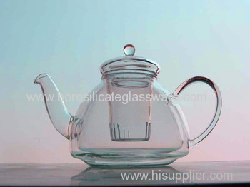 Hand Made Borosilicate Double Wall Glass Black Teas Teapot
