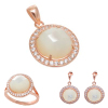 Rose Tone MOP Ring Pendant & Earrings Set