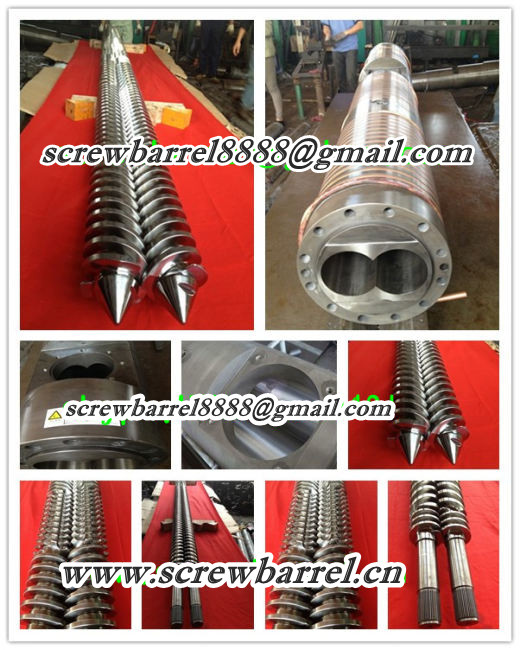 twin parallel twin screw barrel for producing profile