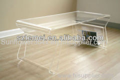 Modern Acrylic Coffee Table With Magazine Rack