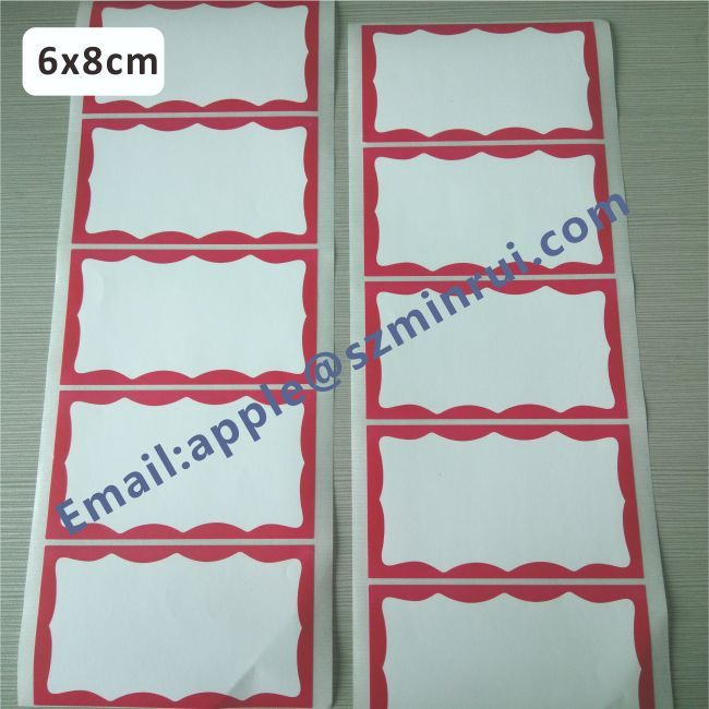 Customized Hot Size 6x8cm RED Border Eggshell Sticker,Handwriting Eggshell Stickers Can