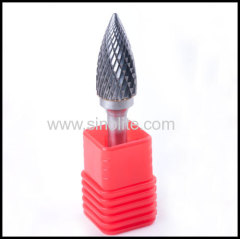 Rotary Carbide Burrs Arc Cylinder with Sharp Top.