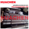 Bimetallic conical twin screws barrel for pipe sheet board panel plate