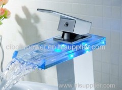 Variable collur Basin bathtub Waterfall LED Light Glass Basin Faucet